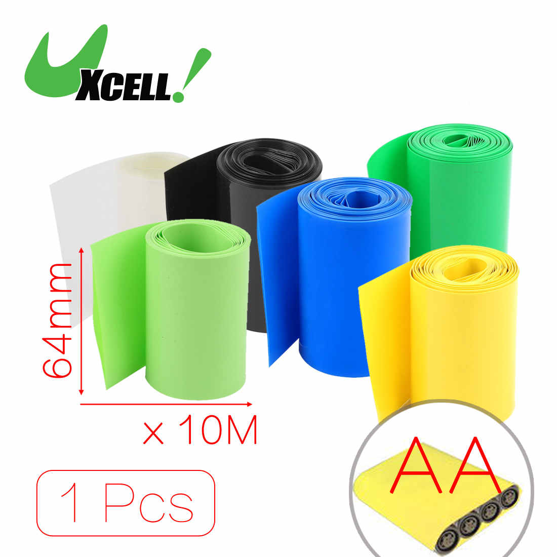 Uxcell 10Meters 64Mm Width Pvc Heat Shrink Wrap Green For Aa Battery Pack . | black | blue | clear | green | yellow