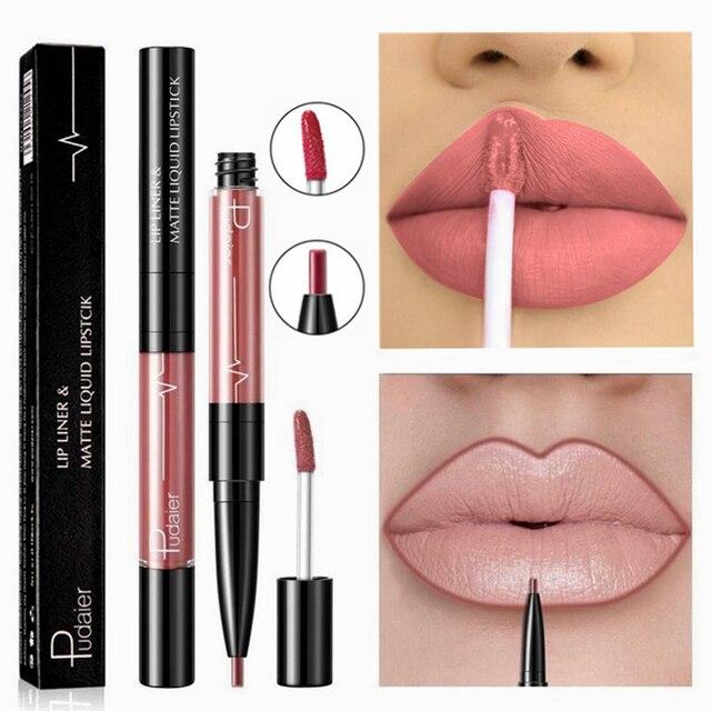 16 Color de lápiz labial líquido Mate labio rojo larga impermeable duradera hacer Mate lápiz labial rosa Nude labios Liner lápiz brillo maquillaje