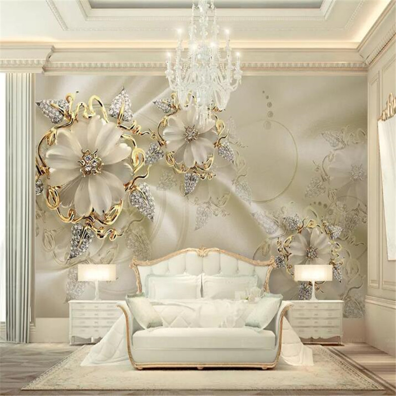 3D Golden jewelry flower TV background wall custom large wallpaper mural 3D photo wall factory wholesale in Fabric Textile Wallcoverings from Home Improvement