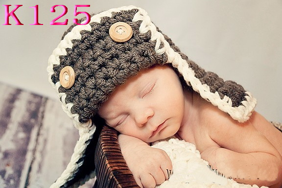 Crochet Baby Pilot Hats Beanie Knitted Baby Boy Winter Hats Toddler Crochet Hat Caps Crochet Baby Photography Props