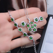 KJJEAXCMY boutique jewelry 925 sterling silver inlaid natural diopside gemstone female pendant necklace bracelet ring earrings s