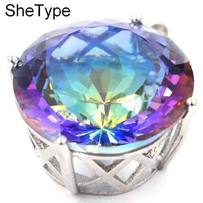 Big Round Gemstone Fire Rainbow Mystic Topaz Woman's Gift Silver Pendant 31x22mm