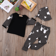 Cute Newborn Baby Boys Clothes Tops T-shirt +Pants Leggings Hat 3pcs Outfits Set
