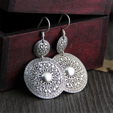 New Antique 925 Silver Women Girl Double Circle Earrings Minimalist Style Jewelry Simple Personality Round