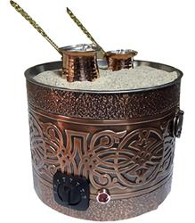 Authentic TURKISH ARABIC COPPER ELECTRIC HOT SAND COFFEE MAKER HEATER MACHINE 220V  Special Sand + 2x Copper pots included