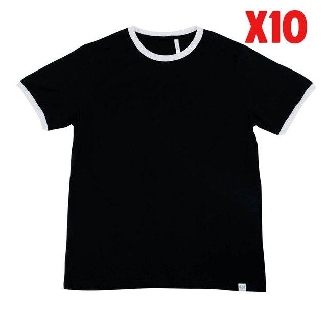 LAUKEXIN USA Big and Tall Black Ringer White Short Sleeve T Shirts 100%  Cotton Mens Custom Printed T Shirts Wholesale 10 5 Pack c61b93b5c0a9