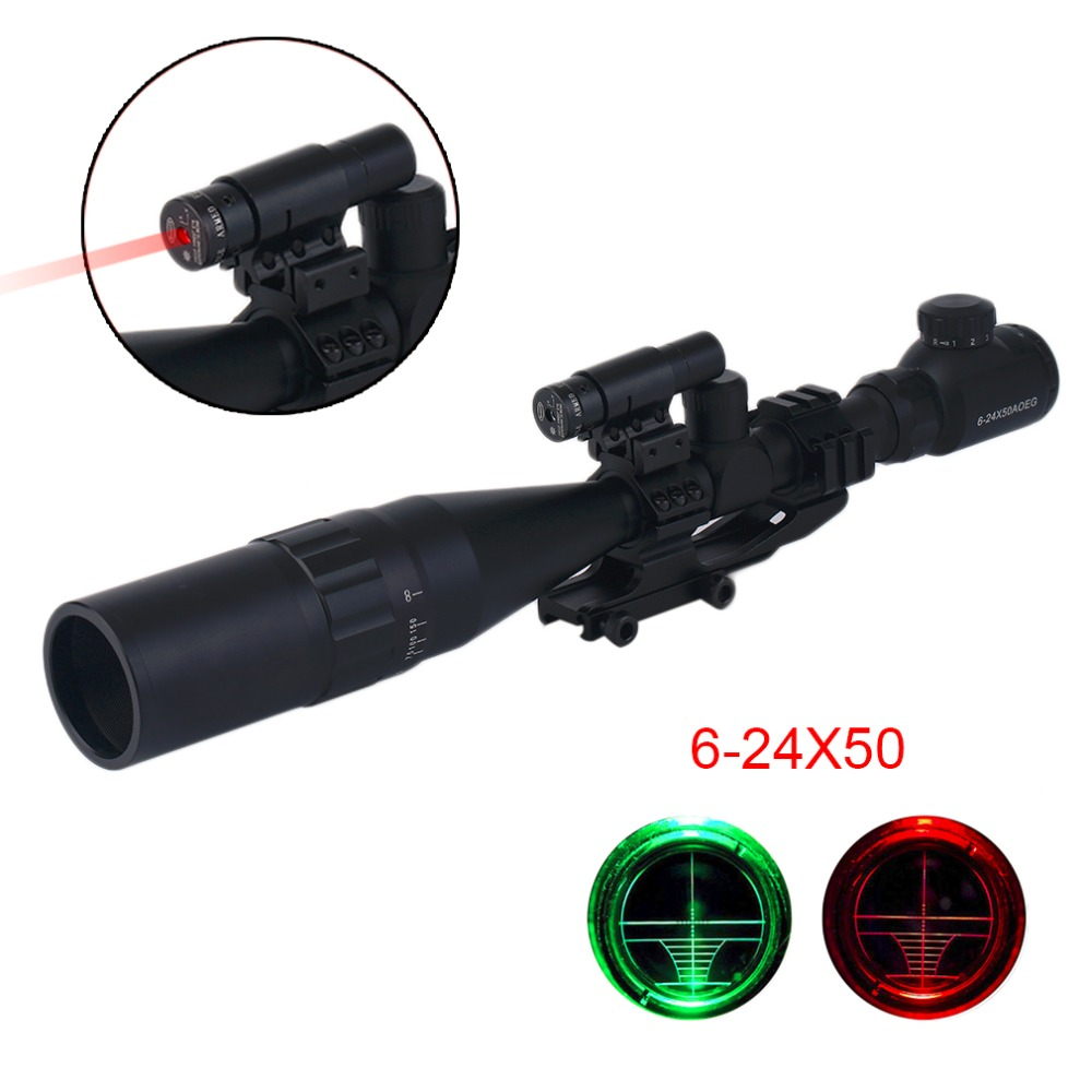 6-24X50 Tactical Hunting Light Green Red Dot Scope Reticle Optical Sight Scope Sunshade Laser Sight red laser sight 6 24x50 red
