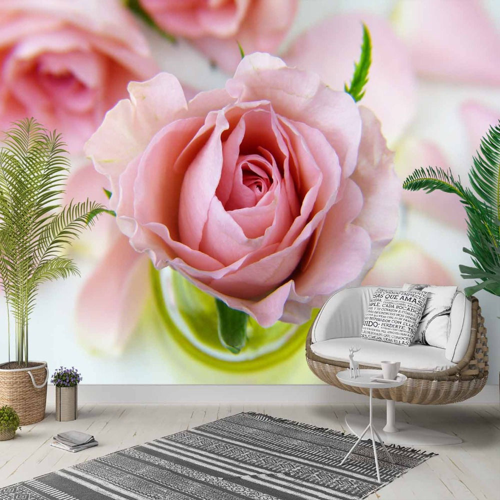 Else Pink White Roses Green Leaf Flowers 3d Photo Cleanable Fabric Mural Home Decor Living Room Bedroom Background Wallpaper