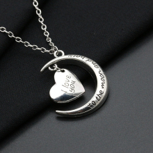 Fashion I Love You Moon Love Heart Shape Pendant Sweater Chain Necklace Jewelry