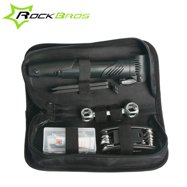 Rockbros Small Portable Bicycle Repair Tools Bag Multifunctional Kit Set Bike Tool Wrench Pump In
