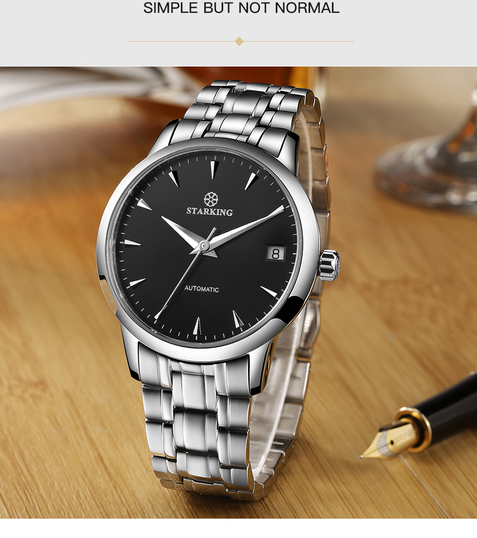 UTB8BMCptSbIXKJkSaefq6yasXXaO STARKING Mens Clock Automatic Mechanical Watch All Stainless Steel Simple Business Male Watch xfcs Luxury Brand Dress WristWatch