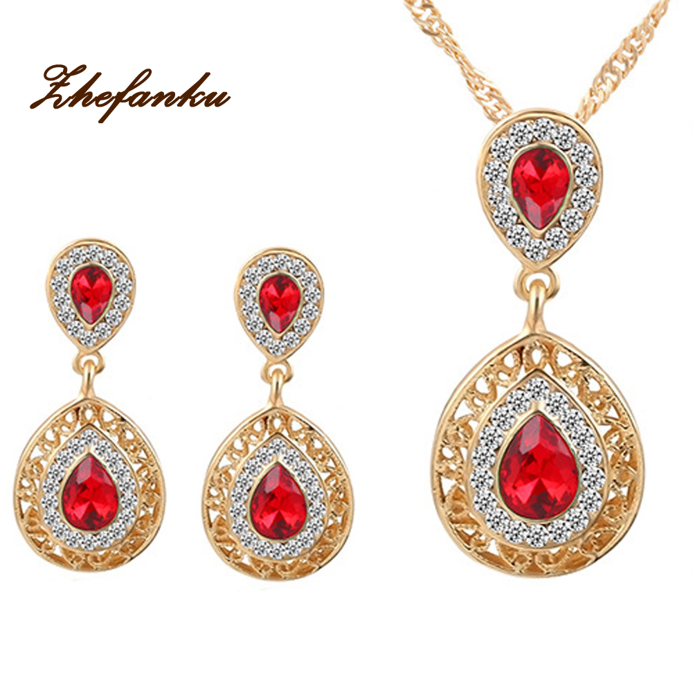 Classic Design Jewelry Sets Double Water Drop Crystal Earrings Necklaces Set For Women Set Jewelry Christmas Gift 3 Colors