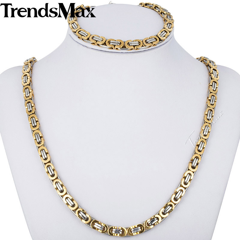 Trendsmax JEWELRY SET 6mm Mens Chain Flat Byzantine Gold Silver Tone Stainless Steel Necklace Bracelet Set Wholesale Gift KS117 thick gold chain set wholesale men s jewelry white black crystal buckle necklace bracelet stainless steel jewelry sets