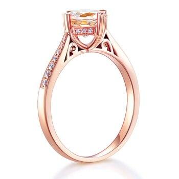 Peacock Star 14K Rose Gold Wedding Engagement Ring 1.2 Ct Peach Morganite 0.13 Ct Natural Diamonds 2
