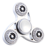 2017 New Three Leaves Crystal Tri Spinner Fidget Toy EDC Hand Spinner For Autism Silver Color