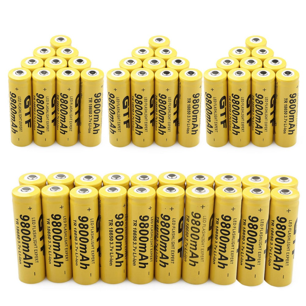 GTF 500PCS 18650 Battery 3.7V 9800mAh Rechargeable Li-ion Cell Battery For Torch Flashlight Rechargeable Batteries 2017 liitokala new original 18650 3400mah battery rechargeable li ion ncr18650b 3 7v 3400 battery