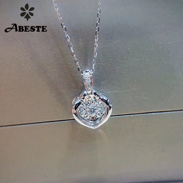 ANI 18K Solid White Gold Pendant Necklace SI Real Natural Diamond Fine Jewelry Women Engagement Necklace Heart Birthday Gift 1