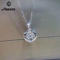 ANI 18 К Solid White Gold Подвеска Ожерелье SI 0,068 ct настоящий натуральный бриллиант ювелирные украшения Женское Обручальное ожерелье подарок на день