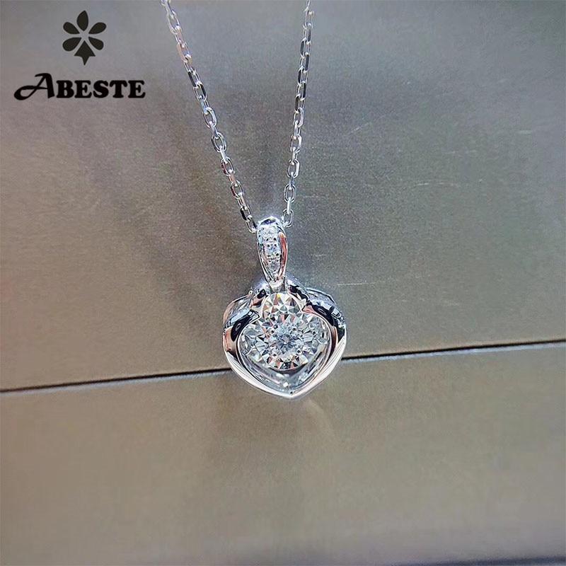 ANI 18 k Solide Blanc Pendentif En Or Collier SI 0.068 ct Réel Naturel Diamant Fine Jewelry Femmes Engagement Collier D'anniversaire cadeau