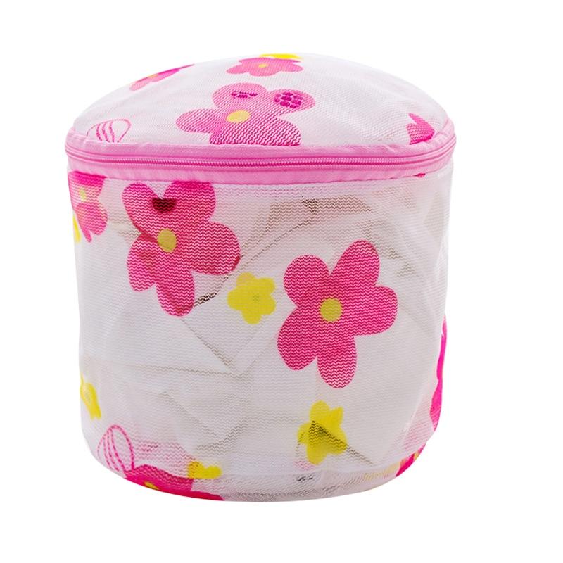Pink Printing Folding Bra Washing Bag Underwear Socks Clothes Protector Bag Storage Box (random Color) 14.5x14.5cm-1PC