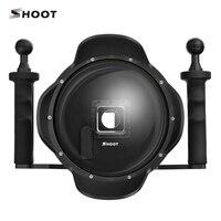 Yeni 6 inç Dalış Gitmek Yanlısı 4 Dome Portu Ile Sabitleyici LCD Su Geçirmez case GoPro Hero 4 3 +/4 HERO4 Siyah Gümüş kamera