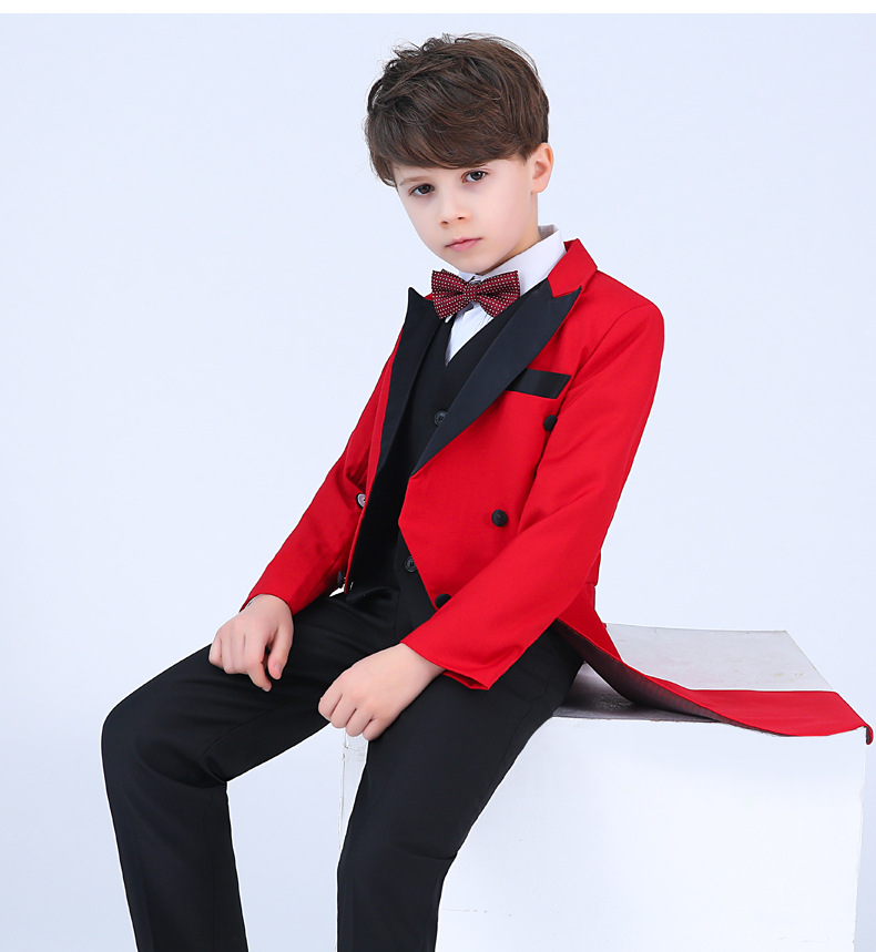 Children red formal suits boy blazers set teenagers Tuxedo trendy winter clothes kids wedding coat outfits piano party costume цена 2017