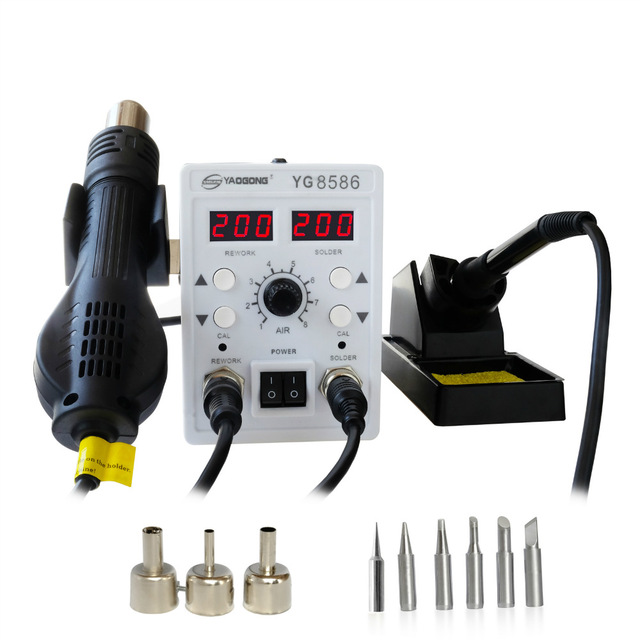 YAOGONG 8586 Rework Station 2 In 1 Double Digital smd Rework Soldering Station Iron Hot Air Mobile Phone Repair Tools цены