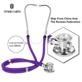 Stetoskop medyczny Estetoscopio podwójna głowica podwójna rura profesjonalny wielofunkcyjny stetoskop przenośny domowy opieka zdrowotna tanie i dobre opinie carevas Medical Stethoscope Alumiaum Alloy 55cm 21 6in Black Purple Blue Red (Optional)