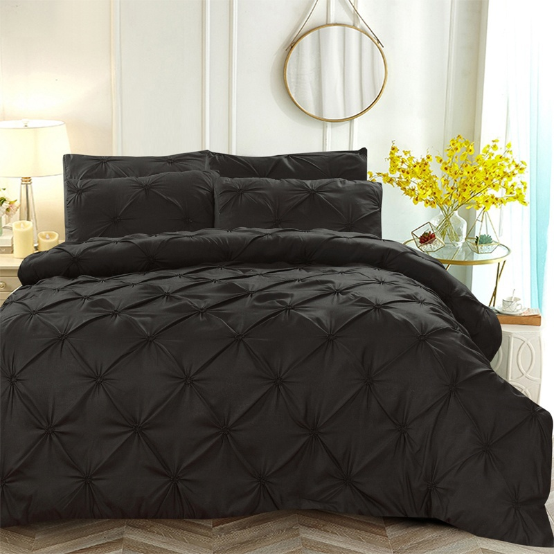WAZIR luxury Pinch Pleat Embroidery Flower Bedding Set Duvet Cover Twin Full Queen King 4 Sizes Duvet Cover pillowcase bed sheet in Bedding Sets from Home Garden