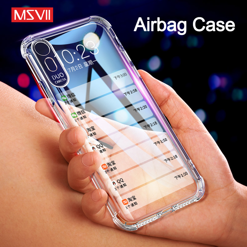 Msvii Mobile font b Phone b font Cases for iPhone Xs Max Case Transparent Crystal Airbag