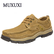 Autumn and Winter Comfortable outdoor Casual Shoes Men Genuine Leather Fashion Men Shoes Handmade Oxfords plus