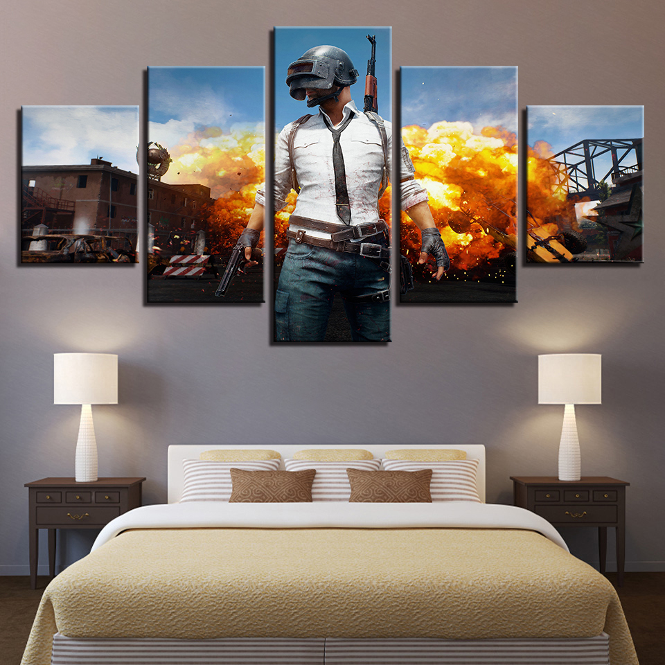 PUBG Hot Game Poster Jedi Survival Battle 5 Piece Canvas Painting Poster Print For Living Room Home Decoration No Frame Pictures