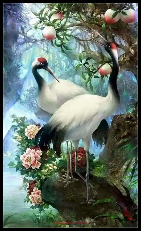 Embroidery Counted Cross Stitch Kits Needlework - Crafts 14 Ct DMC Color DIY Arts Handmade Home Decor - Red-crowned Cranes