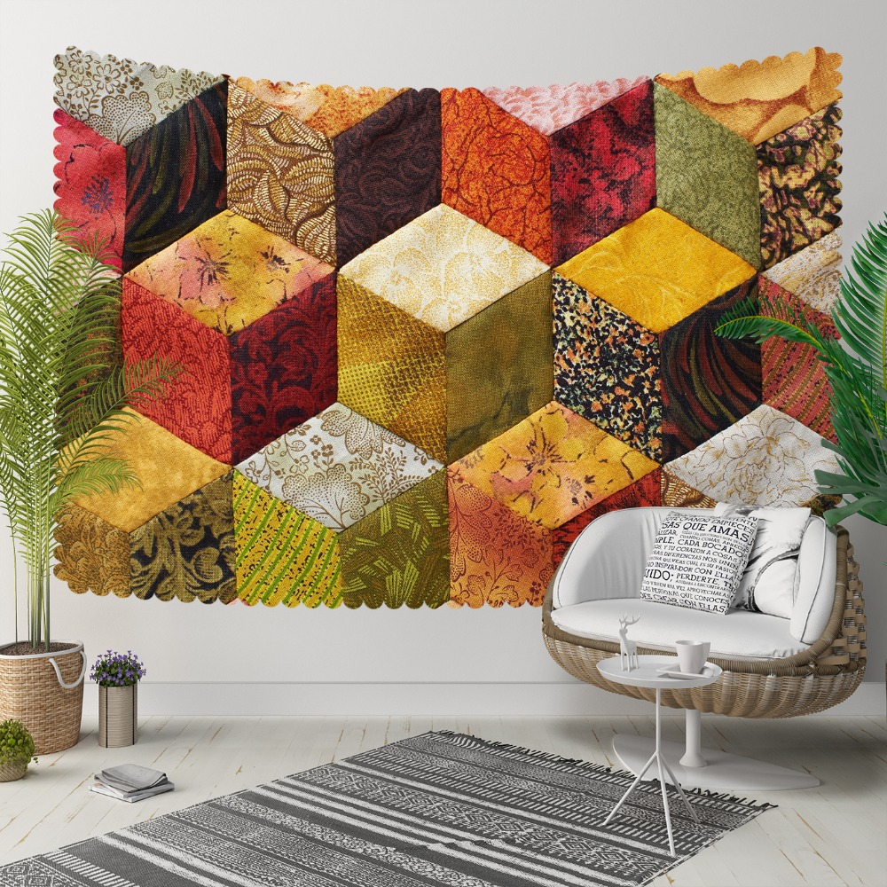 Else Yellow Orange Green Gray Cubes Stones Geometric 3D Print Decorative Hippi Bohemian Wall Hanging Landscape Tapestry Wall Art