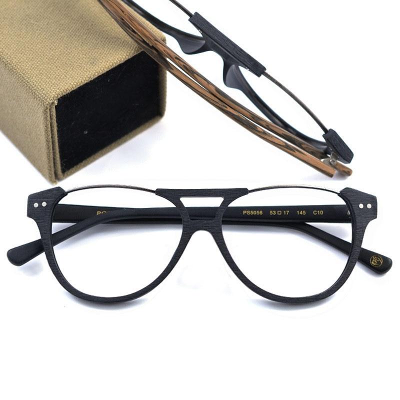 Hand Made Wooden Sunglasses Frames Big Size Yurt Mirror Sunglasses Transparent Glass Eyeglasses Wood Frame Mirror Clear Glasses