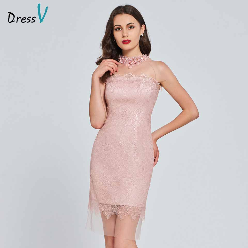 Dressv Beading Lace Cocktail Dress Elegant Button Flowers Wedding Party Evening Formal Dress Bowknot Coctail Dresses Cutomade