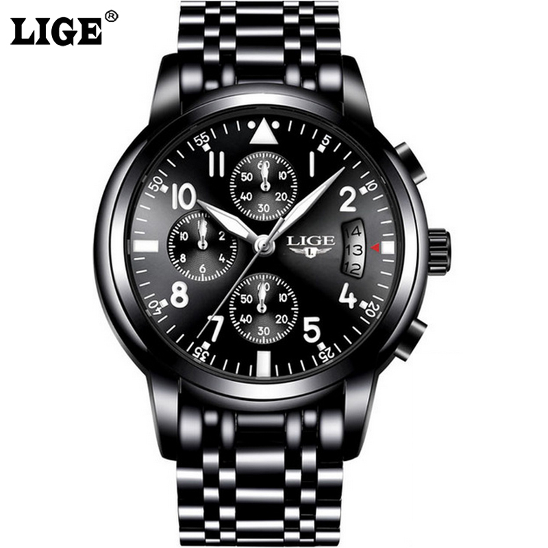 Fashion Chronograph Sport Mens Watches Top Brand Luxury Quartz Watch Reloj Hombre LIGE Clock Male hour relogio Masculino цена и фото