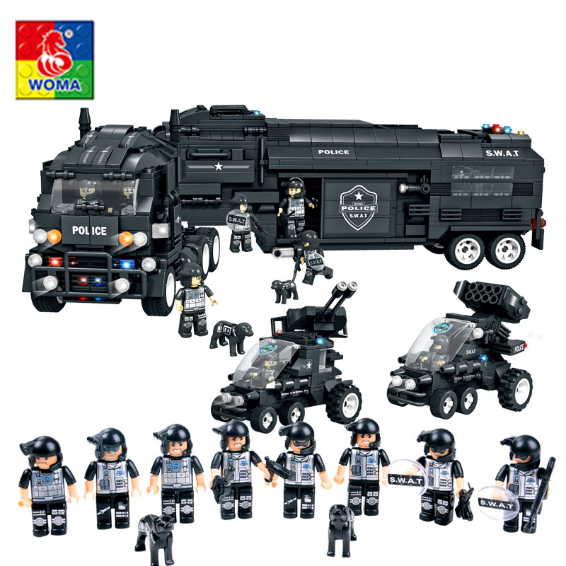 Enlighten Military Educational Building Blocks Toys For Children Gifts Army Police Cars Weapon Compatible With Legoe decool 3114 city creator 3in1 vehicle transporter building block 264pcs diy educational toys for children compatible legoe