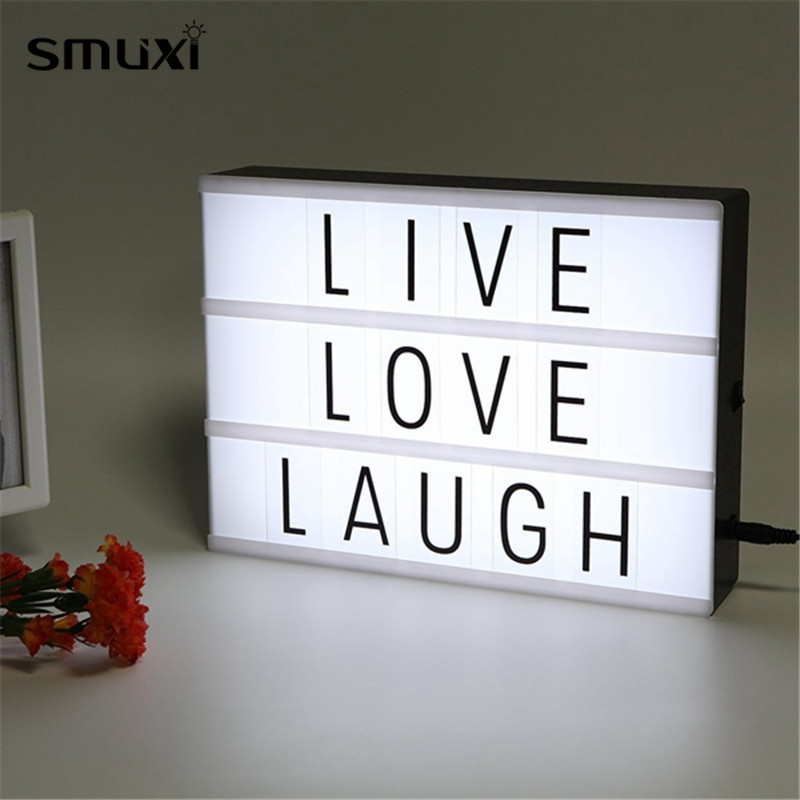 Smuxi LED USB Night Light Box with A4 Letter Card DIY Combination Indoor Lighting for Wedding Party Christmas Decor diy handwriting ornaments light box table a4 led luminous battery usb powered desk night light box plaques sign for wedding part