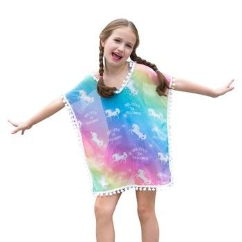 Girls Chiffon Unicorn Cover-up Beach Swimsuit