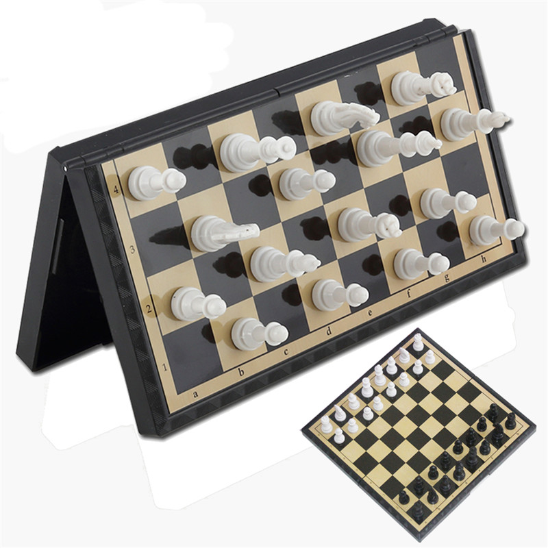 FunFamily Board Game Magnetic Folding Chessboard International Chess Board  Box Portable Kids Table Games Board Toy Puzzle Kit