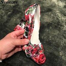 Zapatos Retro con estampado floral rojo de 2019, zapatos de tacón alto con hebilla de cristal de lujo para mujer, zapatos de tacón grueso Vintage para novia
