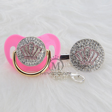 MIYOCAR 11 colors bling pink crown pacifier and clip unique design for baby SGS certificate safe APCB-3-1