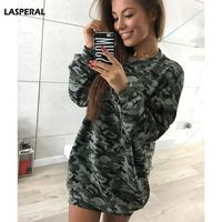 LASPERAL Long Sleeve Camouflage Pullover T Shirt Women Casual Hoodie Round Neck Outwear Women Tops Fashion