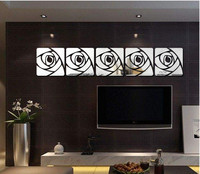 cm Romantic Flower Cartoon Crystal Acrylic Mirror Decorative Sticker 3D Wall Sticker Wall Decal Decol Home Decoration Bathroom