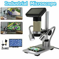 HDMI Output 3.0MP DC 5V Industrial Microscope 300x Monocular With 2 LED Light Digital Video Testing LCD Monitor Stand Holder