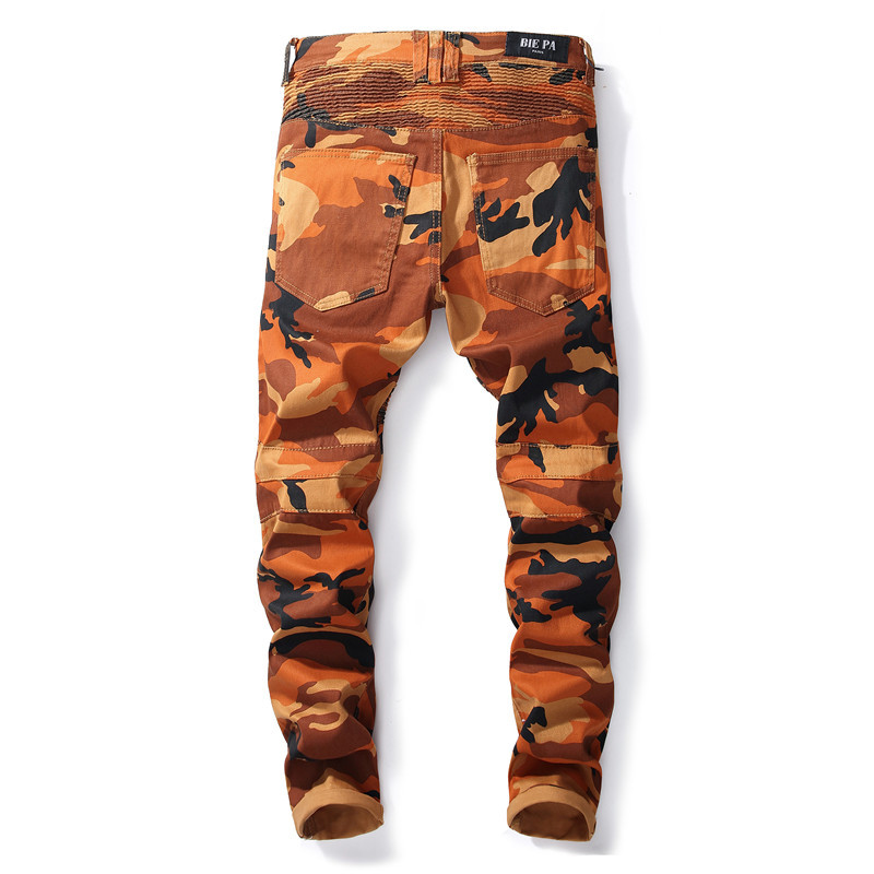 Fashion Pleated Designer Man Camouflage Jeans Fashion Slim Long Denim Trousers