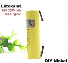 5PCS liitokala100% new original HE4 18650 rechargeable lithium-ion battery 3.6V 2500 mAh battery 20A 35A discharge + DIY nickel
