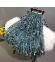 Gorgeous Rainbow Striped Long Women Skirts Blingbling Stretchy Waist Skirts Womens faldas mujer moda 2018 80185