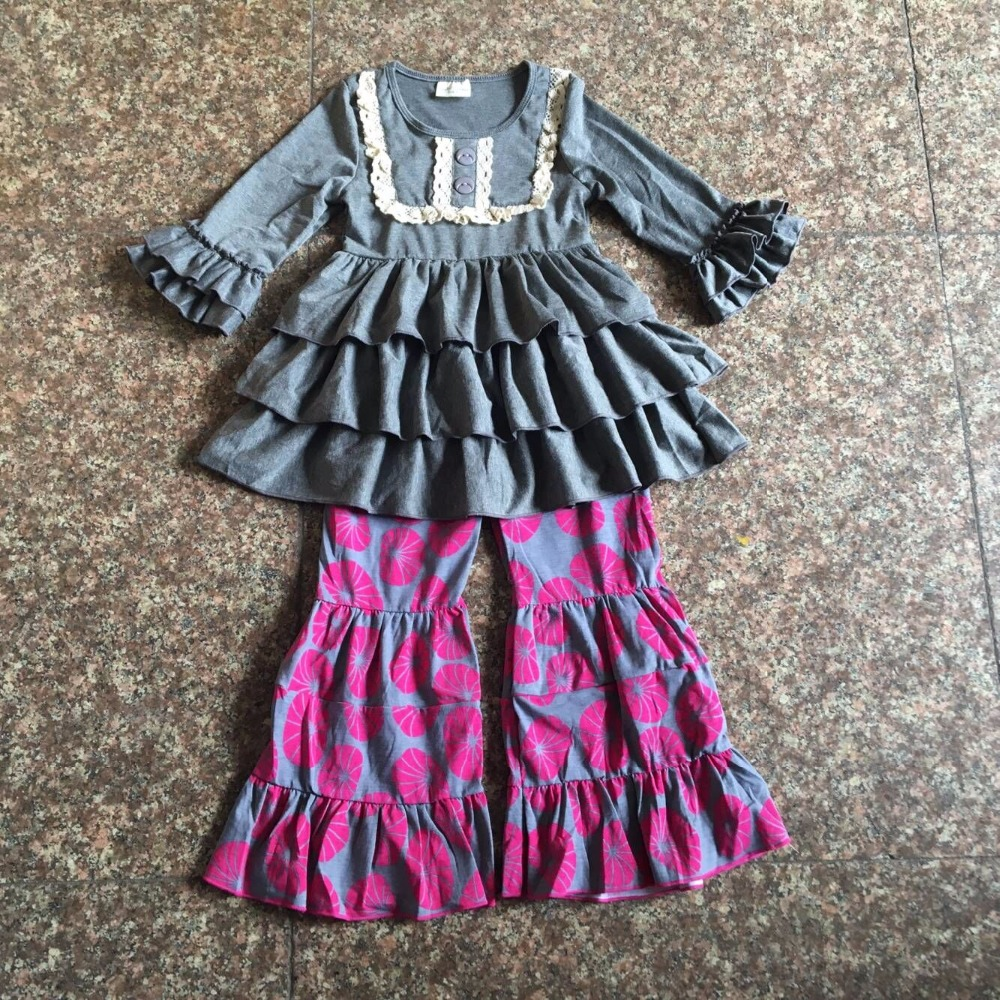 2017 New Fall Coffe Grey Children Sets Ruffle Butterfly Sleeves Infants Clothing Baby Girl Nursing Accessory Apparel Red Pants